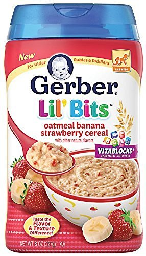 Gerber Lil' Bits Baby Cereal, Oatmeal Banana Strawberry, 8 Ounce(pack of 2) by Gerber