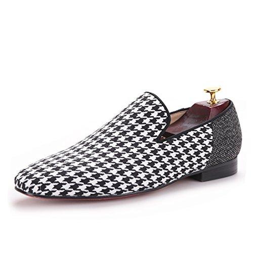 Salut & Hann Hommes Mocassins Chaussures Avec Swallow Gird Patchwork Slip-on Mocassins Pieds Carrés Hommes Appartements