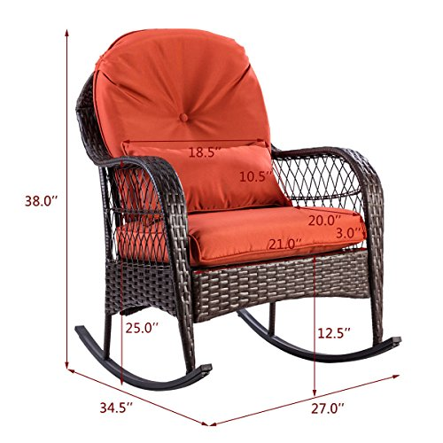 - Dark Coffee Tempo Living Rocker with Thick Cushion Lumbar Pillow Inner Outside Comfortable Weaved Wicker-Work Rocking Chair Your Lover's Valued Gift