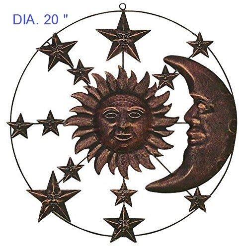 Metal Moon Sun Wall Decor Sculptures Plaque Art Indoor Outdoor Accent Celestial Style