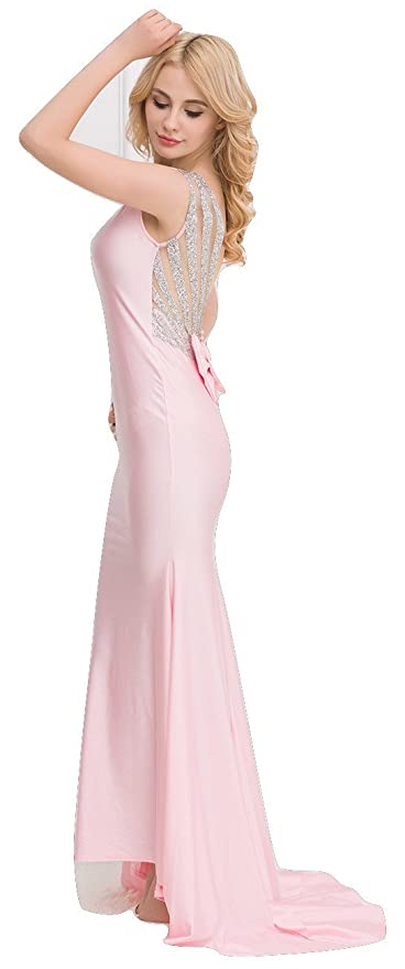 New Ladies Pink & Silver Open Back Evening Dress Long Dress Cruise Prom Cocktail Wear Dress