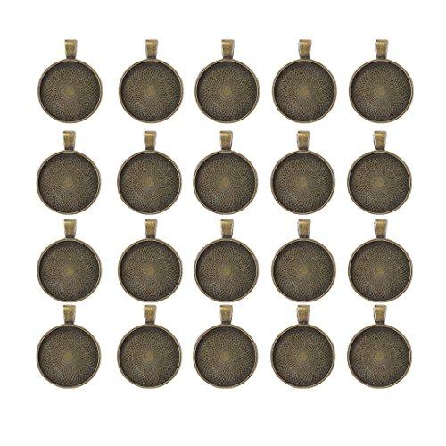 IGOGO Round Pendant Trays Blanks Cameo Bezel Cabochon Settings - 25 mm 1 Inch Antique Bronze Color,20 - Bezel Round
