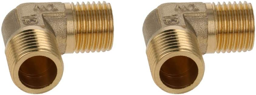 Yinpecly Brass Elbow Pipe Fitting 90 Degree 1/4 PT Male x 1/4 PT Male Coupling Connector L Shape for Connect Pipes Water Fuel Oil Inert Gases Brass Tone 2pcs