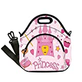 Insulated Lunch Bag,Neoprene Lunch Tote Bags,Kids,Little Princess Tiara Slippers Fairy Castle Butterfly Heart Lollipop Wand Cupcake Girls Party Print Decorative,for Adults and children