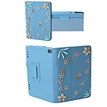 Evtech(tm) 3D Bling Crystal Diamond Rhinestone Kindle Fire HD 7inch Display Tablet (5th Generation - 2015 Release Only) Fole Case Slim Fit Leather Standing Protective Cover with Auto Sleep/Wake Feature (Blue)