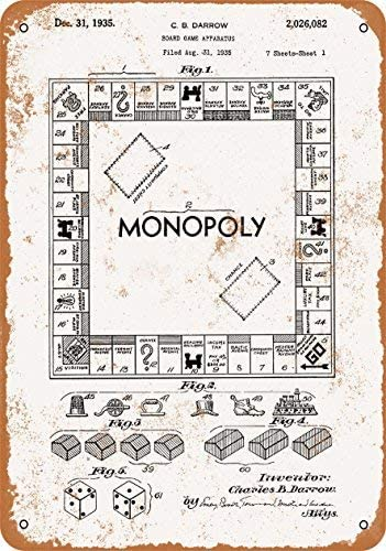 Rebecca Simpson 9 x 12 Metal Sign - 1935 Monopoly Game Patent - Vintage Look: Amazon.es: Hogar
