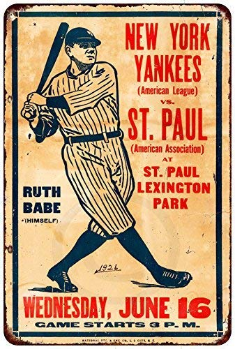 - Joeaney New Tin Sign Aluminum Retro 1926 Ny Yankees and Babe Ruth Vs. St. Paul Metal Sign 8 X 12 Inch