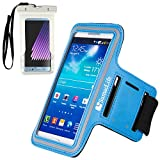 For Android Smartphone Armbands Cover Aqua [Key Slot] Featured with Sport Workout Suitable for Samsung Galaxy J1 Mini Prime/A3 (2017) Come with A White Waterproof Pouch