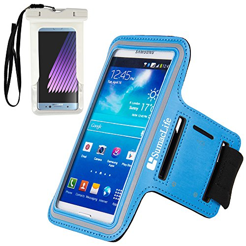 For Android Smartphone Armbands Cover Aqua [Key Slot] Featured with Sport Workout Suitable for Samsung Galaxy J1 Mini Prime/A3 (2017) Come with A White Waterproof Pouch by SumacLife