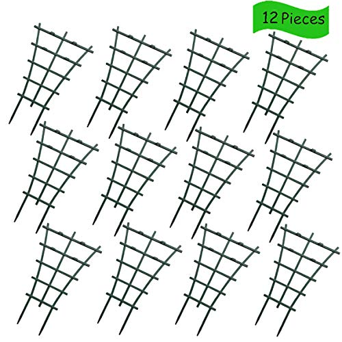 SANXIA DIY Garden Plant Climbing Trellis, Plastic Mini Superimposed Potted Plant Support Garden Trellises for Potted Climbing Plant Vines Vegetables Vining Patio Climbing Trellises (12 Pcs)