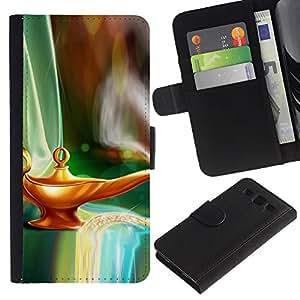 KLONGSHOP / Tirón de la caja Cartera de cuero con ranuras para tarjetas - Magical Lamp Gini Art Fairytale Dreamworld - Samsung Galaxy S3 III I9300