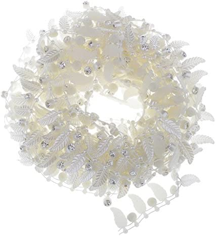 5ヤード 人工真珠 ビーズ チェーン リボン DIY ヘアアクセサリー ギフトラッピング 全3スタイル - 葉