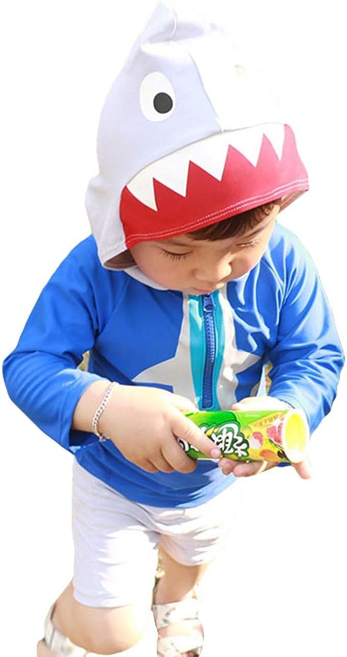 Digirlsor Baby Toddler Boys One Piece Rash Guard Swimsuit Kids Long Sleeve Sunsuit Beach Swimwear Cartoon Bathing Suit