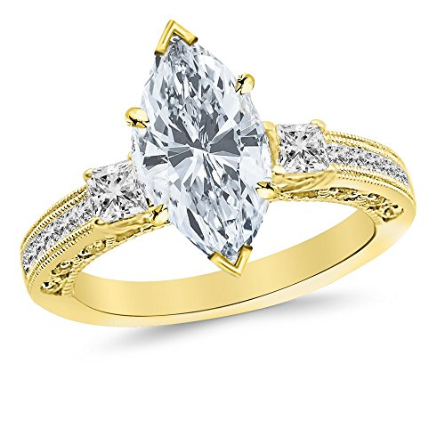 2.5 Ctw 14K Yellow Gold GIA Certified Marquise Cut Three 3 Stone Princess Cut Channel Set Diamond Engagement Ring, 2 Ct I-J I1 Center