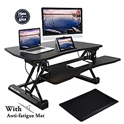 Height Adjustable Standing Desk Converter | Sit Stand Desk | with Free Anti-fatigue Mat, Vertical Transition, Size 36inch x 23inch