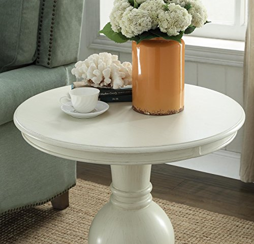 Wooden Round End Table in Brushed White