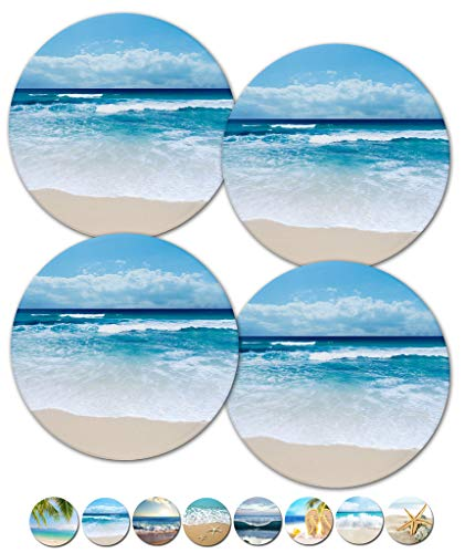 Coasters, Beach Coasters, Stone Coasters, Ceramic, Coasters Set, Modern Coasters, Outdoor Coasters for Drinks, Table Coasters, Cup Mat, Set of 4 No Holder (Beach Scene 02101) ()