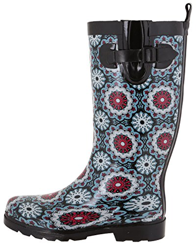 New Capelli Rubber Shiny Boots Tall Rain Ladies Flower York Black dqa4wrq