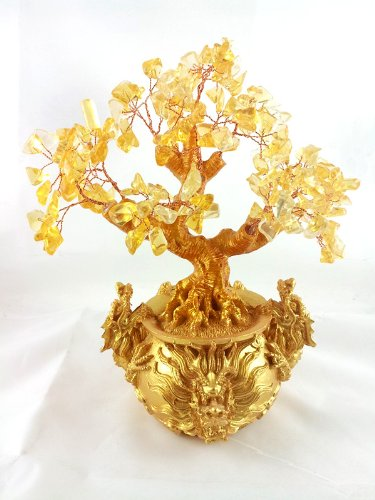 Feng Shui Citrine/ Yellow Crytal Money Tree with Chinese Dragon Pots for (Chinese Tree Dragon)