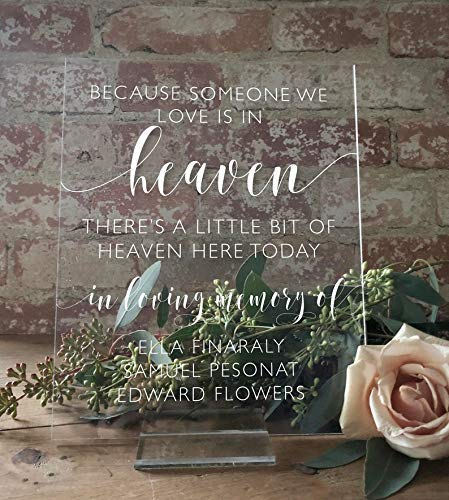 """or Lucite Stand In Loving Memory Clear Acrylic Sign Memorial Sign for Loved Ones w//Custom Stained Oak Heaven Memorial Wedding Sign 8/"""" x 10/""""5x7 In Loving Memory Wedding Sign With Names"""