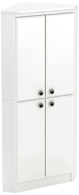 South Shore Morgan 4 Door Corner Armoire, Pure White