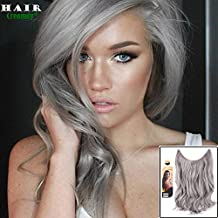"""creamily® 20"""" Sliver Grey Flip In Secret Miracle Wire Hair Extensions Synthetic Curly Wave Hairpieces 20"""""""