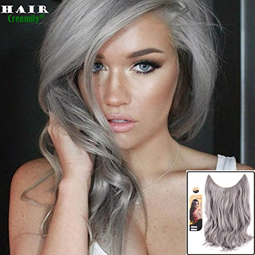 Creamily 20 Silver Gray Secret Miracle Wire Hair Extensions Synthetic Curly Wave Hairpieces 20