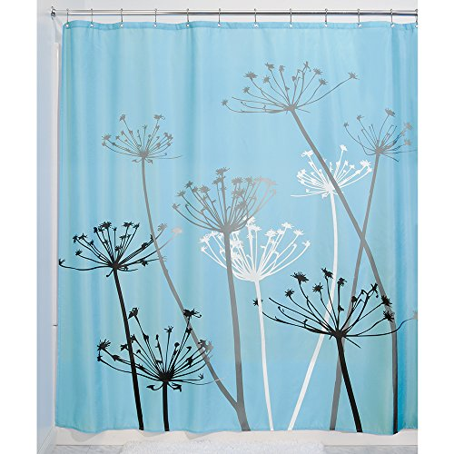 New Thistle Shower Curtain Blue And Black 72 Inch By 72