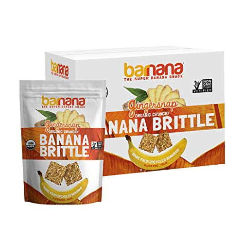 Barnana Organic Crunchy Banana Brittle - Gingersnap, 3.5 Ounce (10 Count) - Healthy Vegan Cookie Style Dessert Snack - Made with Sustainable, Eco Friendly Upcycled Bananas