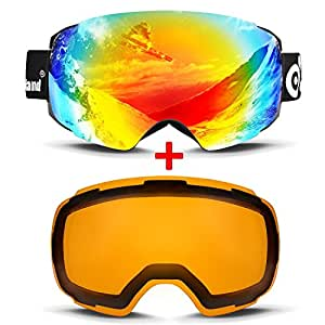 ODOLAND Magnetic Interchangeable Ski Goggles with 1 Bonus Detachable Yellow Lens, Large Spherical Frameless Snow Goggles for Men & Women, OTG and UV400 Protection