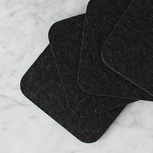 Coaster Set by FeltCoasters - Carbon Black Square · Square Shape · 4 Inches Wide · 5mm Thick · Set of ()
