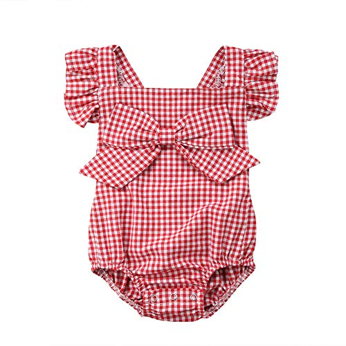 Newborn Baby Girl Romper Clothes Infant Kids Ruffle Plaid Bowknot Backless Bodysuit Jumpsuit Tops Onesies Sunsuit(6-12 Months)]()