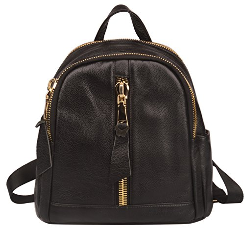 Fiswiss Women's Genuine Leather Backpack Casual Backpack Purse With big zippers (Black) by Fiswiss