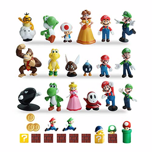 HXDZFX 34 PCS Super Mario Action Figures,Super Mario Bros Toys Figurines Peach Daisy Princess,Luigi,Yoshi,Mario Toys for Boys,Perfect Mario Cake Topper Decorations]()