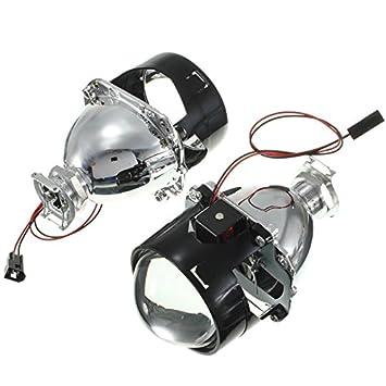 C-FUNN Kit per Proiettore Hid Bi-Xenon da 2,5 Pollici Hi//Lo Lente di Conversione Angel Eye Ccfl Halo Bianca