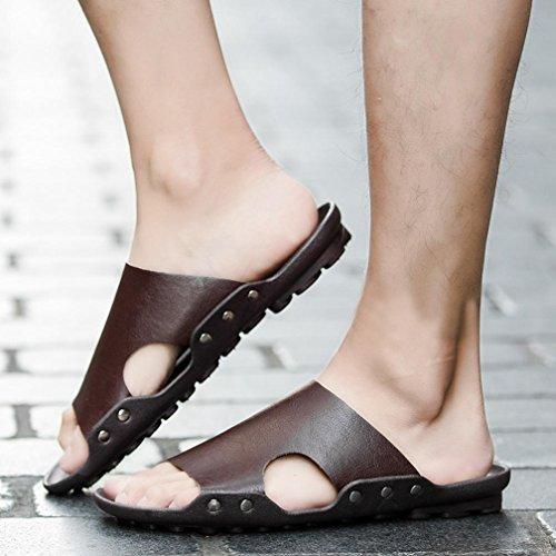 Sandali Pantofola Sintetica Sandali Marrone SOMESUN Pelle Infradito Uomo da Uomo Casual Traspirante Pantofole Estate Morbidi da in Casa Infradito Pelle in x6pnwBapq