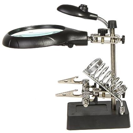 KKmoon - Lente d'ingrandimento con 2 lenti: ingrandimento: 3 X / 4,5 X, da tavolo, multifunzione, con luce a 2 LED e 2 pinzette per tenere fermi gli oggetti KKmoon-L0001