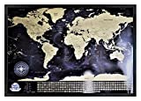 Framed Scratch off World Map, Detailed Map with Flags, XLL Premium Quality Scratch Off World Map, Personalized Travel History, Amazing Map Decor, Perfect Travel Gift (Black Frame)