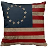 Betsy Ross Vintage Look Early American Flag 18 x 18 Inches Polyester Decorative Throw Pillow Case