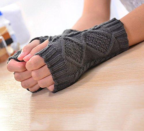 Nanxson(TM) Unisex Warm Half Fingers Knitted Gloves Multicolors ST0004 darkgrey