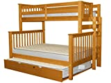 Bedz King Bunk Beds Twin over Full Mission Style with End Ladder and a Full Trundle, Honey Review