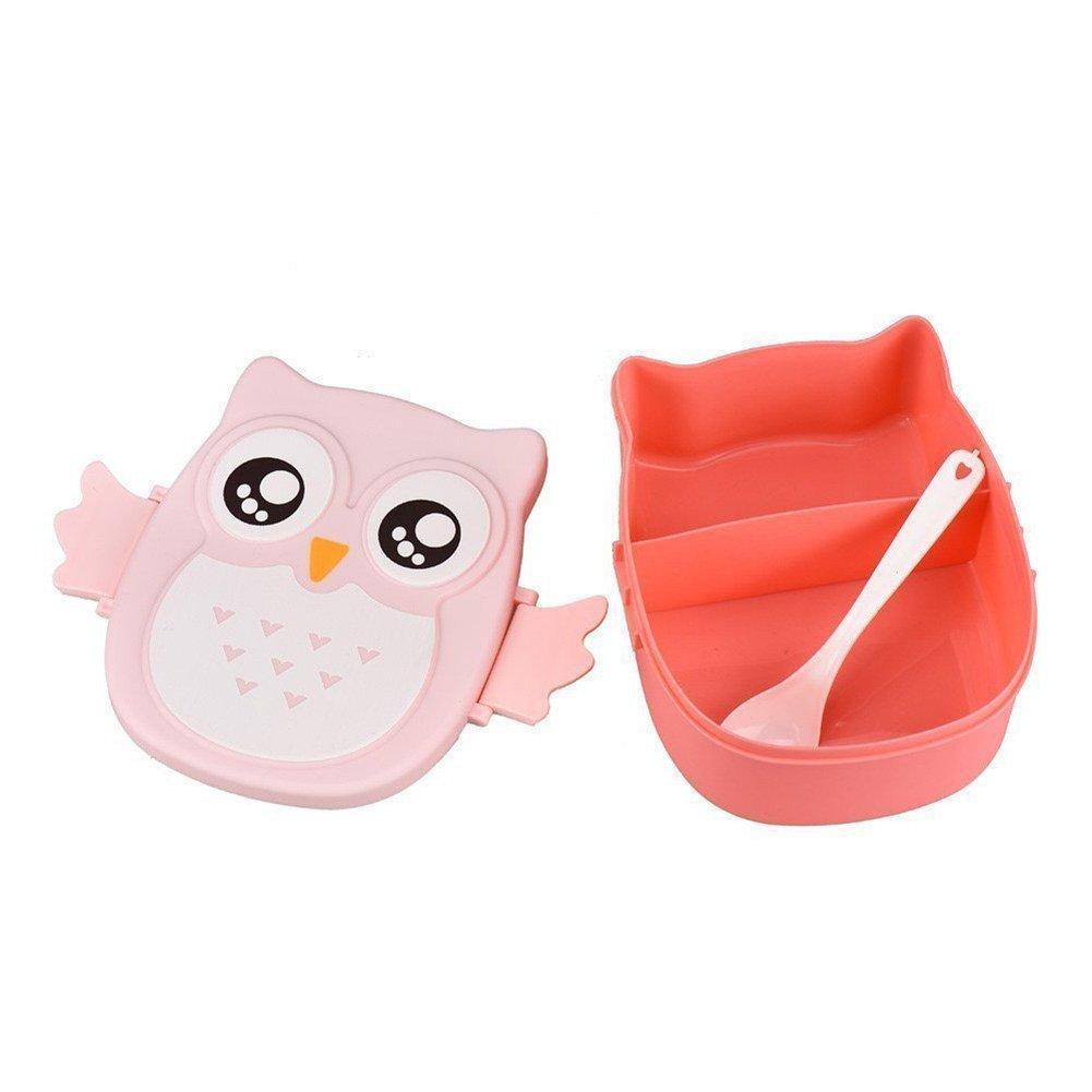 Queta Portable cute Owl impermeabile rettangolare lunch box cibo frutta contenitore per bambini e adulti, 16* 14* 7cm, 1000ml 100g Blue