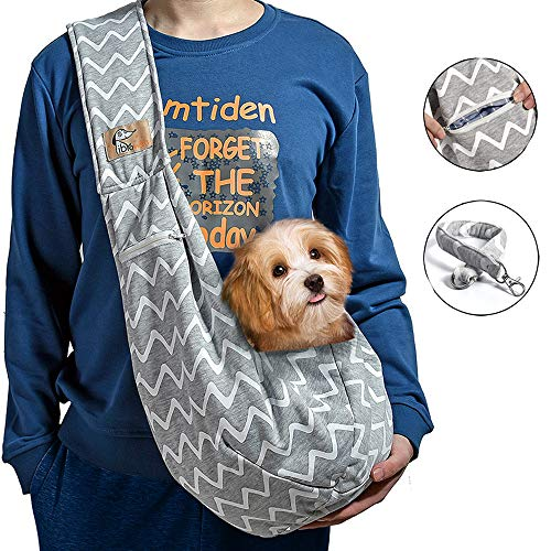 iBrowith Reversible Dog Carrier Sling Hands Free Backpack for 5 - 12 lbs Small Pet Travel Outdoor Riding Adjustable Shoulder Strap ( Grey , Blue Stripes )