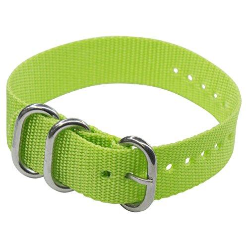 Easy Exchange, One Strap Nylon Watch Band in White, Orange, Lime, Aqua, Salmon, Black (18mm, 20mm) by DAKOTA (18, (Aqua Womens Watch Band)