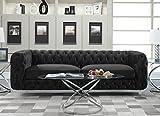 Iconic Home FSA2654-AN Modern Contemporary Tufted Velvet Down-Mix Cushions Acrylic Leg Sofa, Black