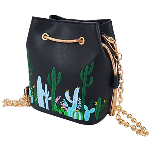 Crossbody Bag Purse Girls Chain Drawstring Black Strap Bucket with Mini Womens for Cactus Satchel Purse Felice Embroidery xSCYZHq0Zw