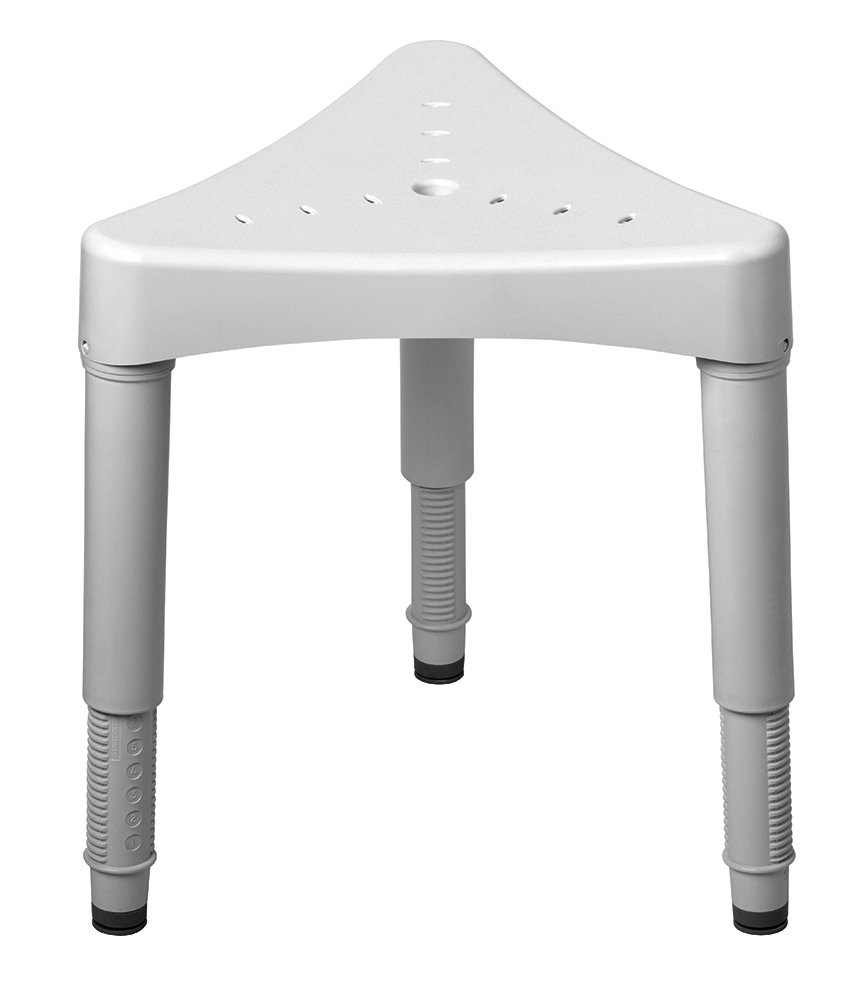 Ableware Adjustable Corner Shower Seat, White (727160000) by Maddak Inc.