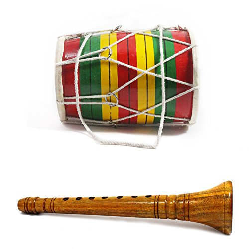 Handmade Crafted Indian Traditional Classical Miniature Shehnai and Dholak Set Showpieces Premium Christmas Gift or Multi Occasional Gift