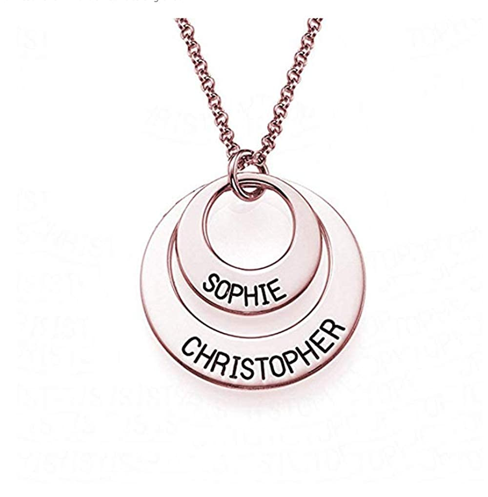 Customized Gift for Women//Girl Boknight Name Necklace Personalized Circle Classic Russian Ring Engraved Names