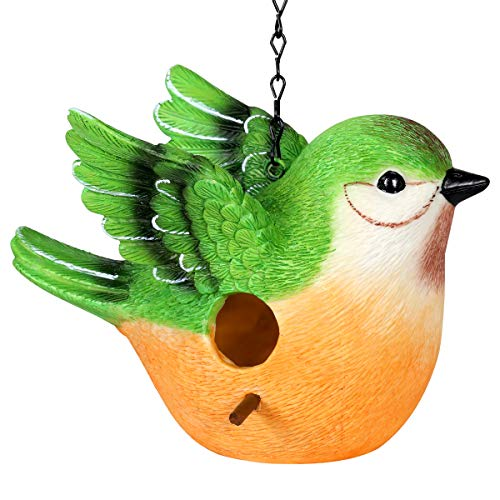 Exhart Peach-faced Lovebird Hanging Bird House - Handcrafted Lovebird Resin Mini House with a Link Chain - Hanging Birdhouse Décor - Cute Peach Bird Décor for Porch, Trees, Patio and Garden, 10